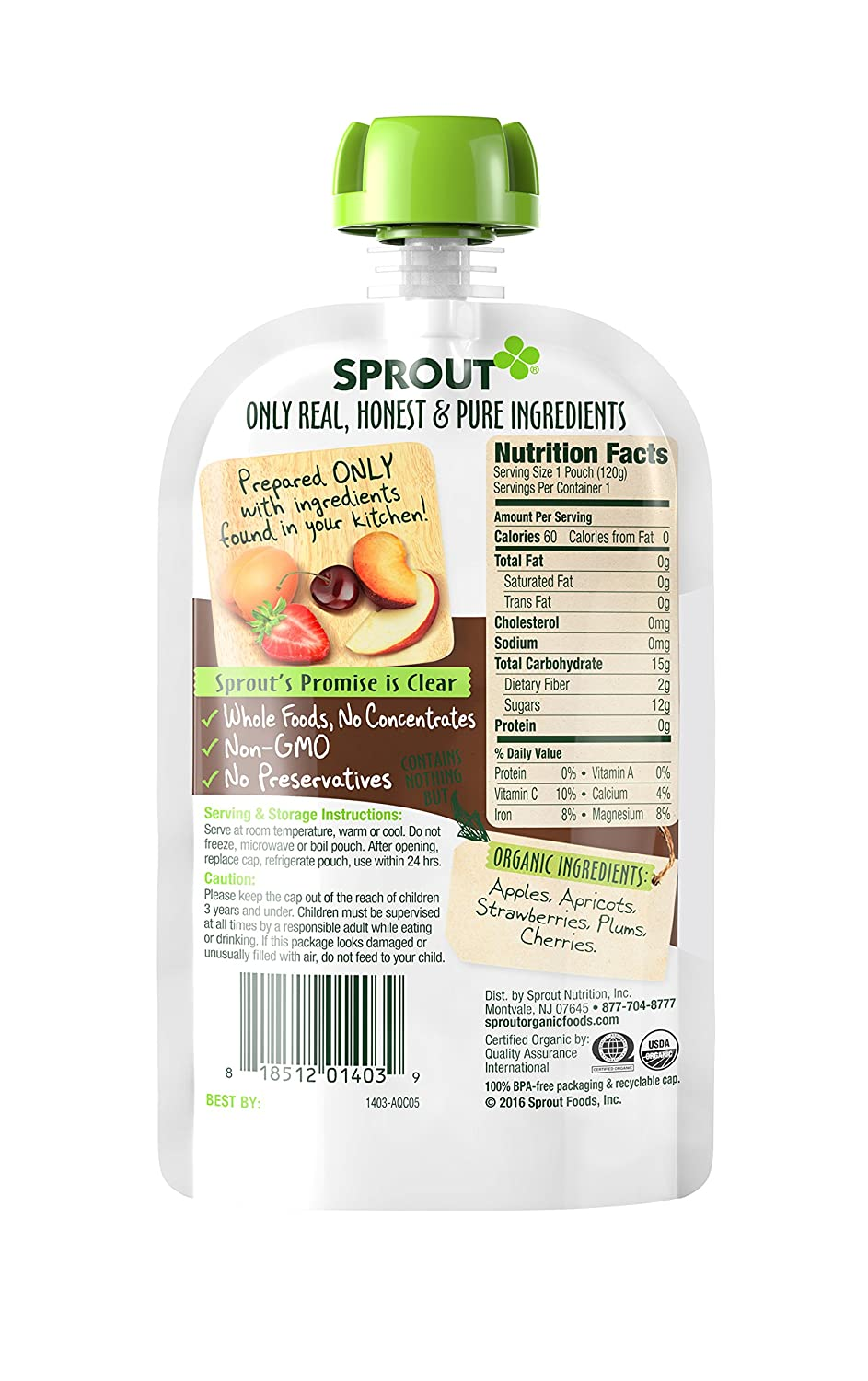 Sprout Organic Toddler Puree Pouches, Strawberry Pear Butternut Squash Amaranth, 4.22 Ounce (Pack of 5): Amazon.com: Grocery & Gourmet Food