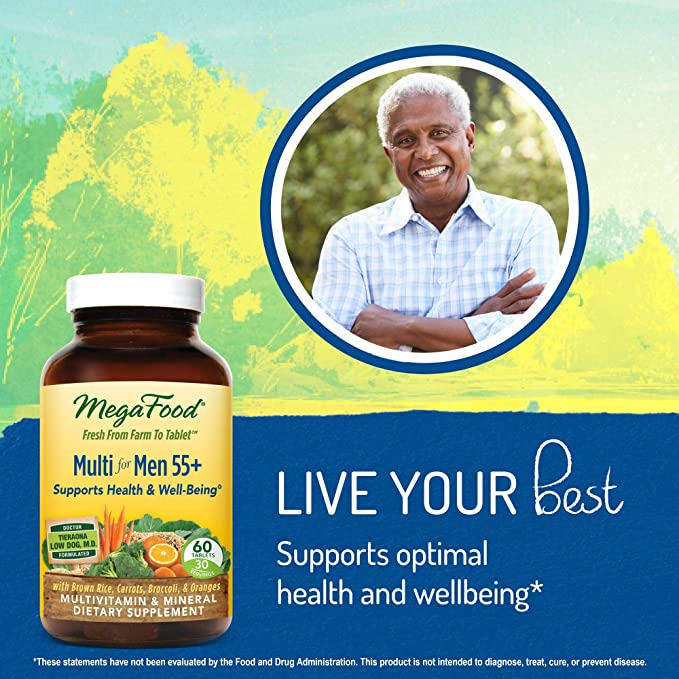 MegaFood - Multi for Men 55+, A Balanced Whole Food Multivitamin, 60 Tablets: Amazon.es: Salud y cuidado personal