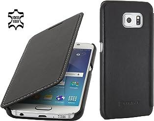 StilGut Book Type Case, Custodia in Pelle a Libro per Samsung Galaxy S6, Nero Nappa