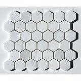"Carrara White 2"" Hexagon Marble Mosaic Tile Backsplash Wall Floor"