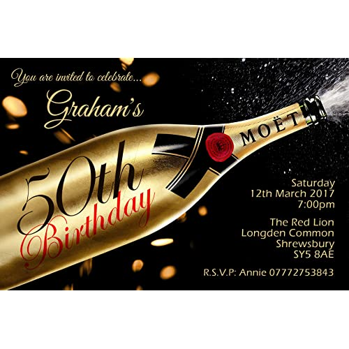 50th Birthday Party Invitations Envelopes Champagne Gold Click Customize For Pricing