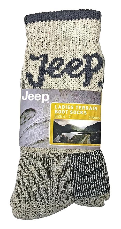Jeep Terrain - 3 pares calcetines senderismo mujer trabajo invierno para botas tamaño 37-42 eur (Beige): Amazon.es: Ropa y accesorios