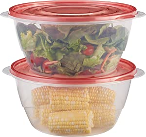 Rubbermaid TakeAlongs Serving Bowl Food Storage Containers, 15.7 Cup, Tint Chili, 2 Count 1953767