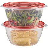 Rubbermaid TakeAlongs Serving Bowls Food Storage Container, 2-Pack, 15.7 Cup, Tint Chili, Red