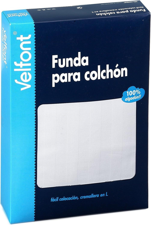 Velfont Funda Colchón Raso Labrado Blanca 160x200 cm: Amazon.es: Hogar