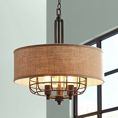 Tremont Rust Cage Pendant Chandelier 20 Wide Industrial Rustic Tan Burlap Drum Shade 3-Light Fixture for Dining Room House Foyer Kitchen Island Entryway Bedroom Living Room – Franklin Iron Works