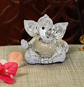 TIED RIBBONS Silver Plated Ganesha Idol Murti Figurine Statue (2.75 inch X 2 Inch) - Ganpati Idol for Home Decor car Dashboard