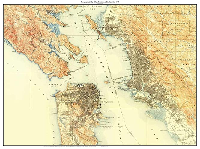 San Francisco East Bay 1915 Custom Usgs Old Topo Map The City Marin County East Bay Daly City Composite Print California