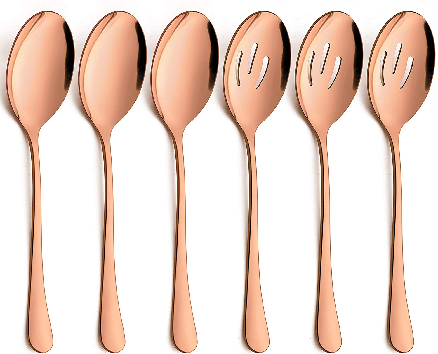 LIANYU 6-Piece Large Copper Serving Spoons, Copper Slotted Serving Spoons, Stainless Steel Rose Gold Serving Utensils for Party Buffet Restaurant Banquet Dinner Catering, Dishwasher Safe