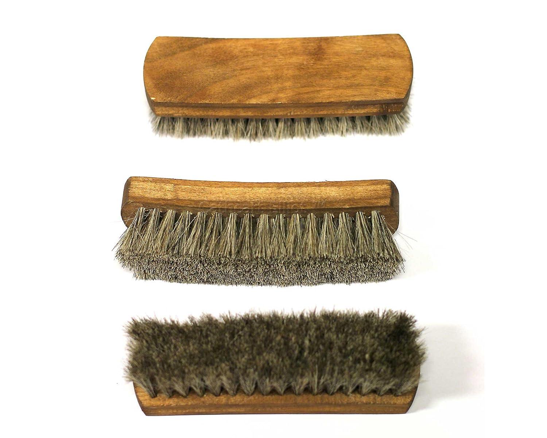 3x Dense Real Horse Hair Large Shoe Polishing Brushes by Cathcart Elliot a-pbru-3