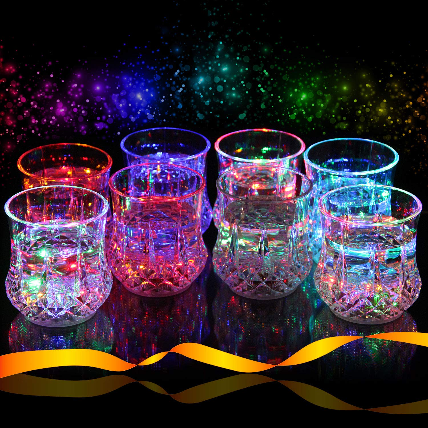 Liquid Activated Multicolor LED Tumblers ~ Fun Light Up Drinking Glasses - 6 oz. - Set of 8 by Light Up Glassware