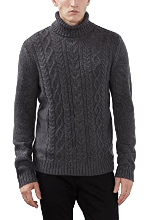 edc by ESPRIT Herren Pullover 106CC2I005, Grau (Dark Grey 020), Small