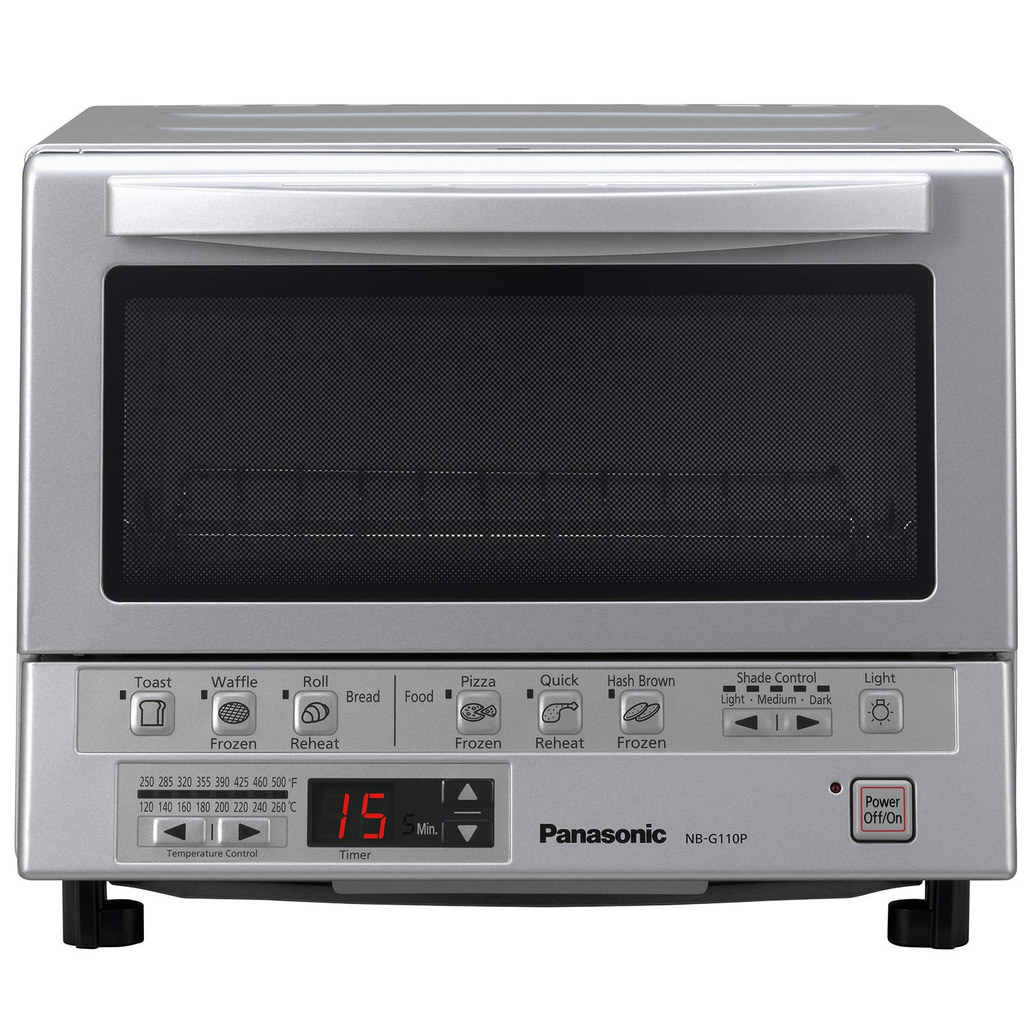 Panasonic NB-G110P Toaster Oven FlashXpress with Double Infrared Heating and Removable 9-Inch Inner Baking Tray, Silver, 1300W by Panasonic