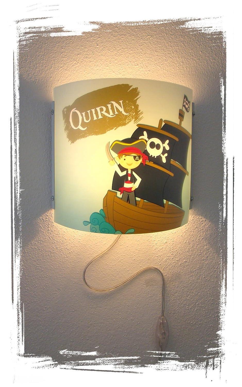 Kinder Leuchte als Wandlampe//Schlummerlicht oder Nachtlicht f/ür Steckdose//personalisiert mit Namen Motiv Pirat