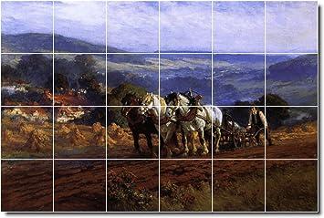 Ceramic Tile Mural Frederick Bridgman Horses Painting 18 36 W X 24 H Using 24 6 X 6 Ceramic Tiles Amazon Ca Tools Home Improvement