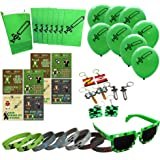 Party Ninja Miner Crafting-Themed Party Favor Bag Set - Birthday Party Supplies Kit Includes Goody Bags, Stickers, Wristbands