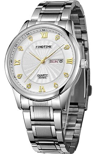 Findtime Hombres Relojes Oro Classic Lujo Acero Inoxidable Relojes Marcas de Cuarzo: Amazon.es: Relojes