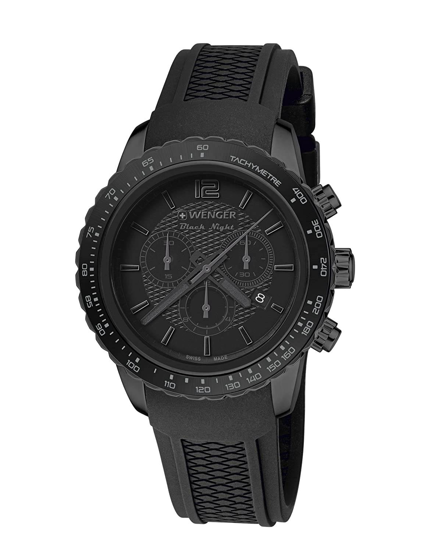 WEGNER Unisex-Armbanduhr 01.0853.111 ROADSTER BLACK NIGHT CHRONO Analog Quarz Kautschuk 01.0853.111 ROADSTER BLACK