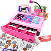 Ben Franklin Toys Talking Toy Cash Register - Store Learning Play Set with 3 Languages, Paging Microphone, Credit Card, Bank Card and Play Money Pink