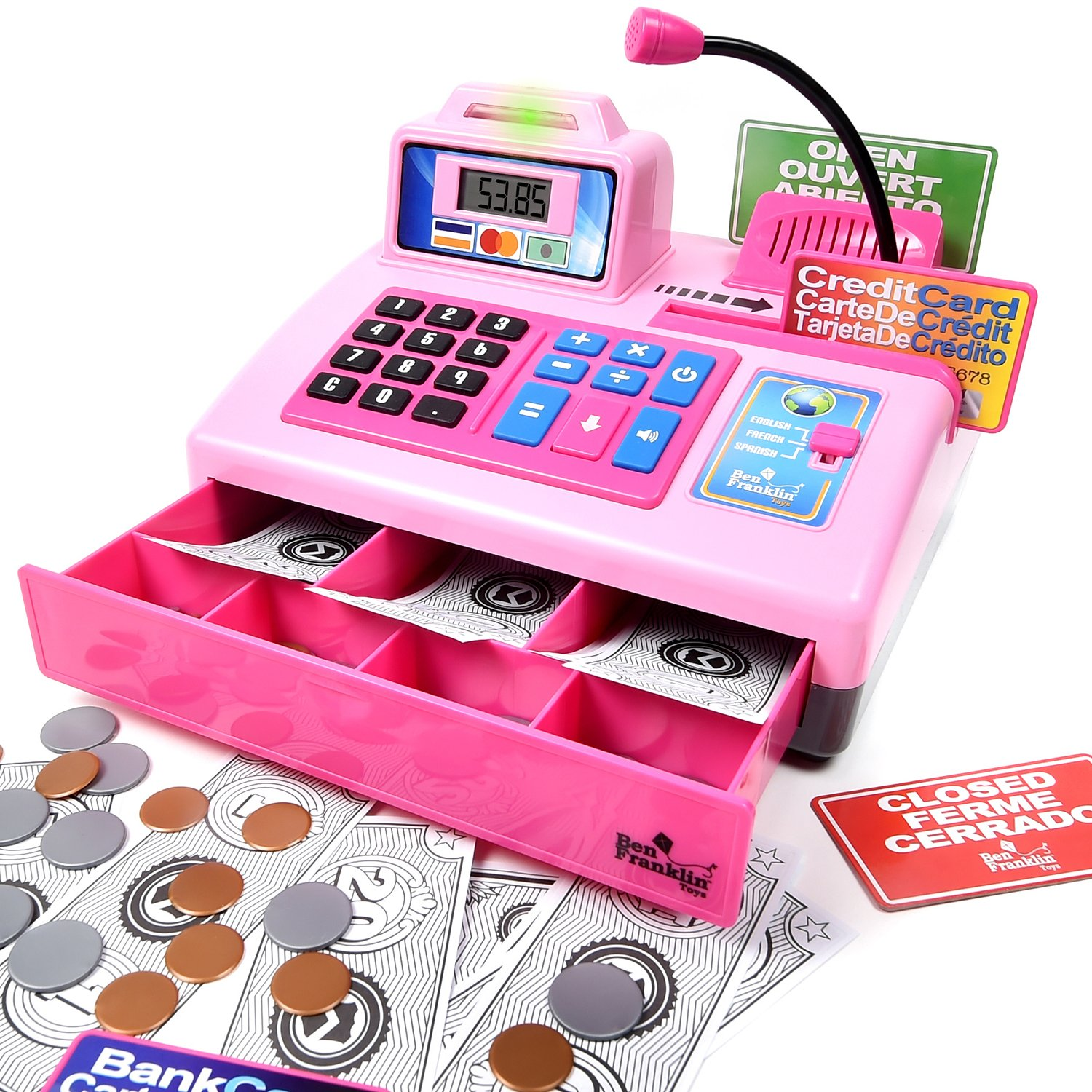 Ben Franklin Toys Talking Toy Cash Register - store learning play set with 3 languages, paging microphone, credit card, bank card and play money, Pink by Ben Franklin Toys
