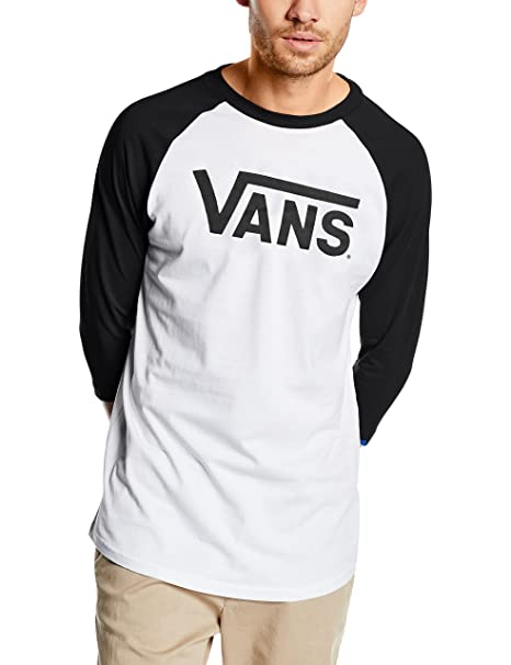 Vans Men's Classic Raglan 3/4 Sleeve Sports Shirt, Multicoloured  (White/Black
