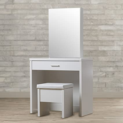 . Modern Vanity Set With Mirror And Stool   Perfect Piece Of Furniture For  Your Bedroom   Durable Makeup Table Organizer   Available In White or Brown