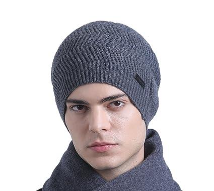 80c51b47 Image Unavailable. CACUSS Men's Classical 100% Australian Merino Wool Knit  Beanie Hat - Winter Warm Headwear(