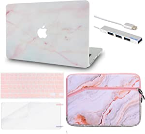"""LuvCase 5 in1 LaptopCase forOld MacBook Pro 13"""" (CD Drive, 2008-2012) A1278HardShellCover, Sleeve, USB Hub 3.0, Keyboard Cover & Screen Protector (Pink Marble)"""