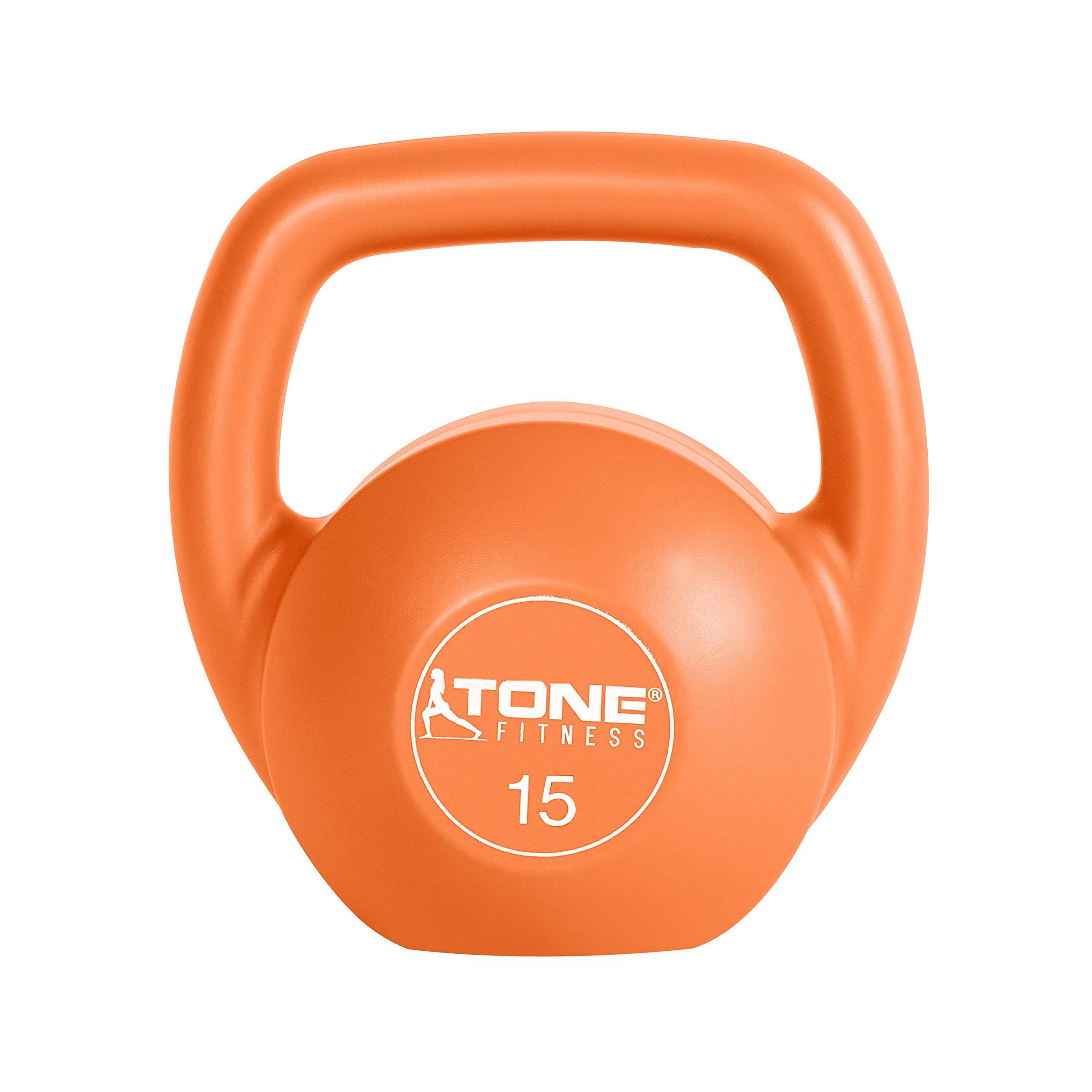 Tone Fitness Vinyl Kettlebell, 15-Pound, Orange by Tone Fitness