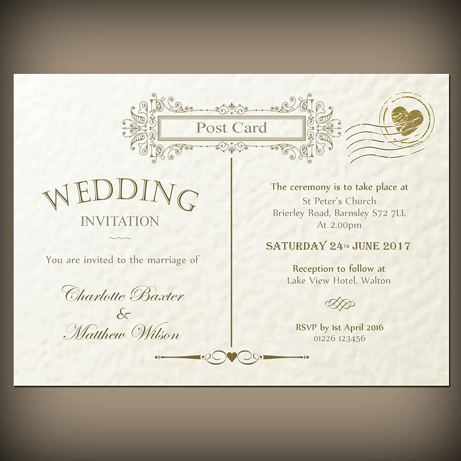 10 Personalised wedding or evening invitations with envelopes, Vintage postcard, ivory or white hammered card.
