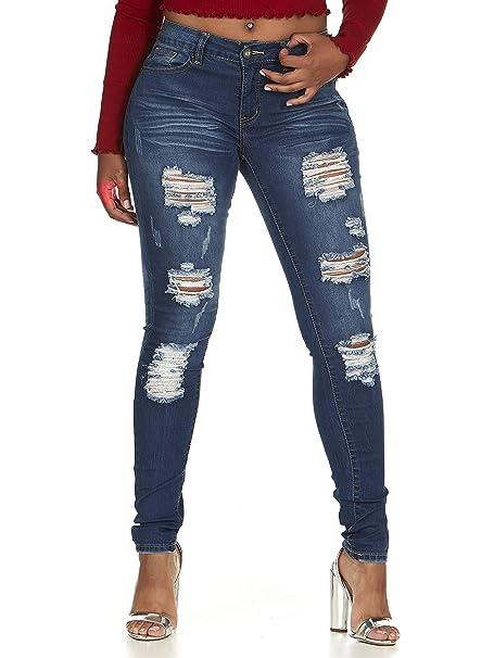 Amazon.com: Pantalones vaqueros elásticos para mujer ...