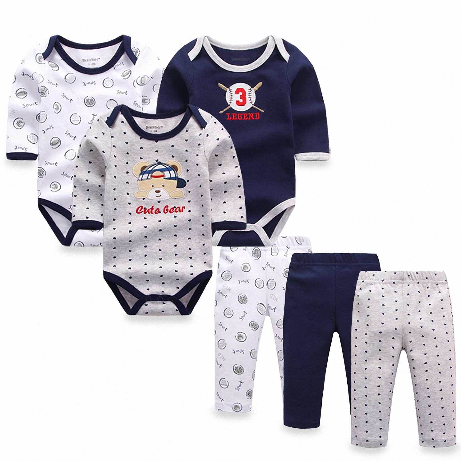 Baby Pants Baby Clothing Sets Smakke 6Pcs//Lot Baby Girl Clothes Newborn Toddler Infant Autumn//Spring Cotton Baby Rompers