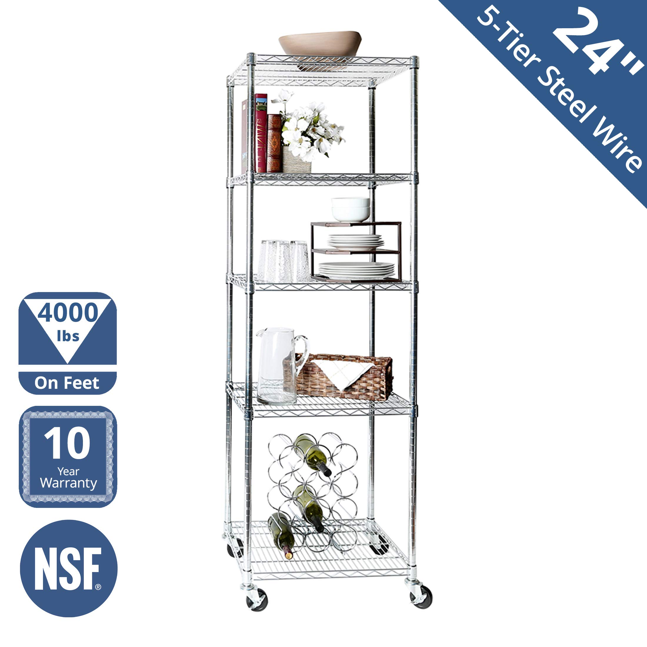 Seville Classics UltraDurable Commercial-Grade 5-Tier NSF-Certified Steel Wire Shelving with Wheels, 24'' W x 18'' D x 72'' H, Chrome by Seville Classics
