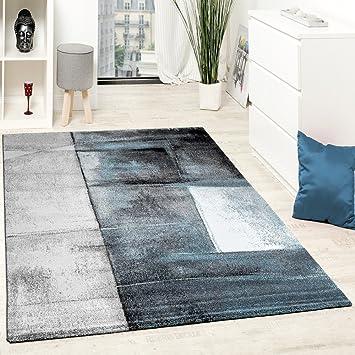 Paco Home Designer Teppich Modern Kurzflor Wohnzimmer Trendig Meliert  Türkis Creme Grau, Grösse:160x230