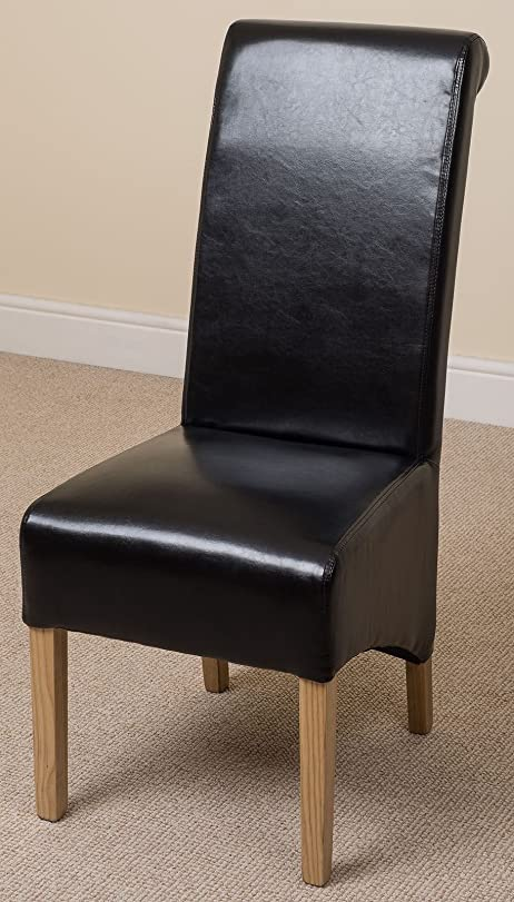 MONTANA LEATHER DINING CHAIR BLACK Amazoncouk Kitchen Home - Leather dining chairs uk