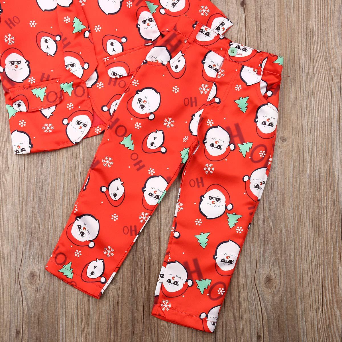 Pantaloni Cravatta CIPOGL con Giacca da Ragazzo Completo Natalizio per Bambini con Babbo Natale e Fiocco di Neve