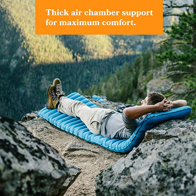 Fox Outfitters Airlite Sleeping Pad for Camping, Backpacking, Hiking. Fast Inflatable Air Tube Design with Built in Pump