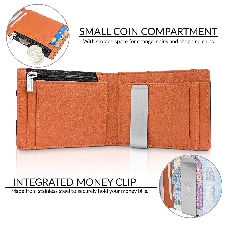 """cde580f77c TRAVANDO Portafoglio uomo piccolo con protezione RFID """"LONDON"""" Porta carte  di credito con clip ingrandisci"""