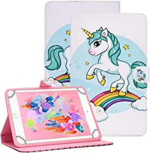 Popbag Universal Case for 8.0 Inch Tablet - Light Weight Slim Stand Wallet Cover for Samsung Tab, Lenovo Tab 4/E8, T-Mobile Alcatel 3T, Dragon Touch, Walmart Onn, Huawei 8.4, HD 8 Inch-Rainbow Unicorn