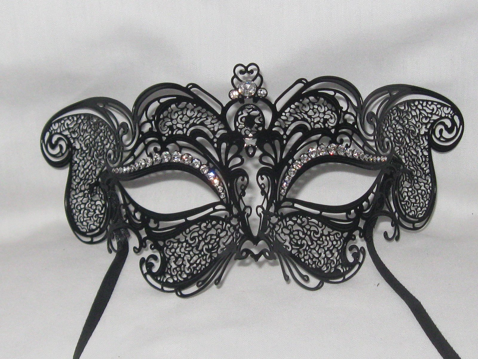 Black Cat Laser Cut Metal Venetian Masquerade Mask