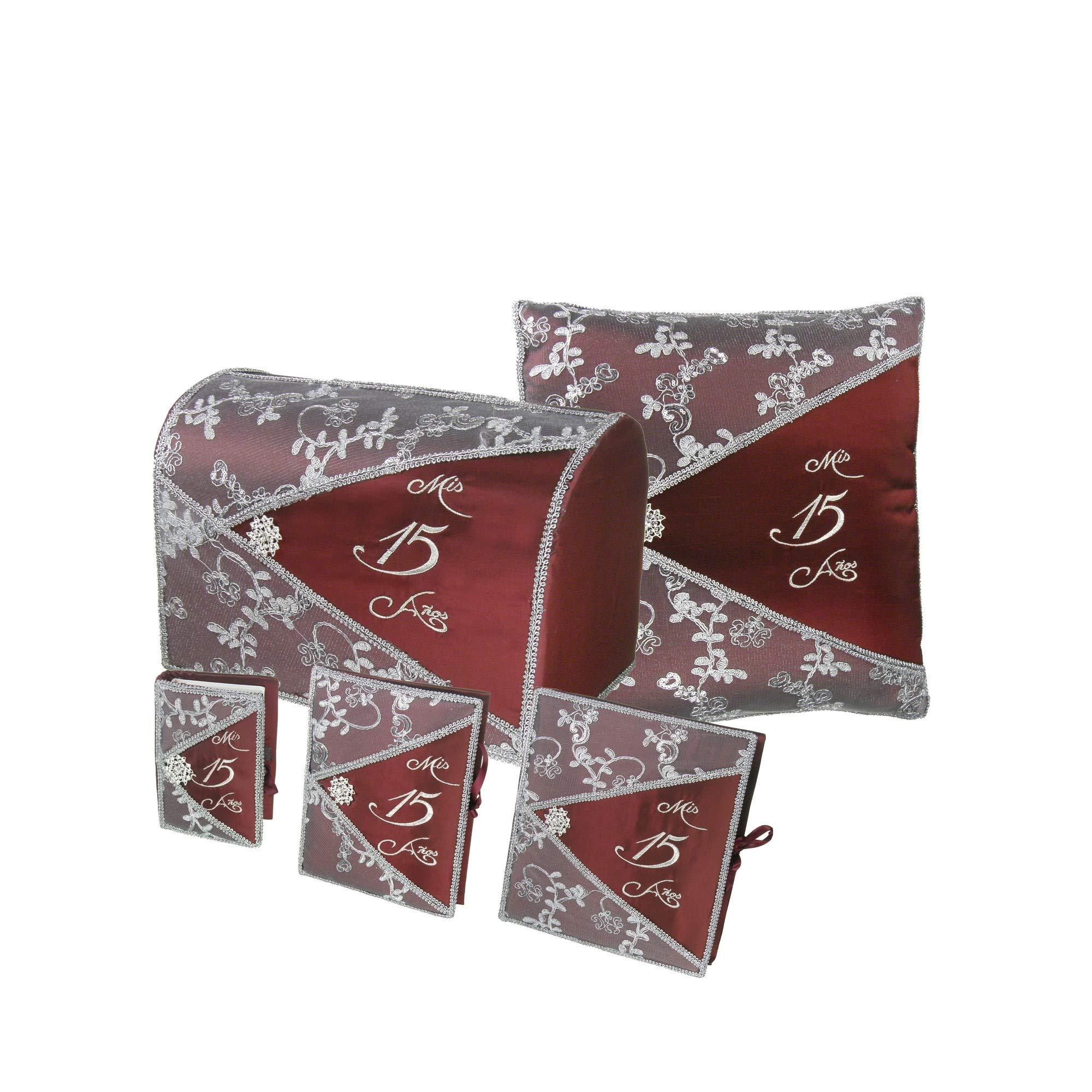 DivaDesigns Quinceañera Accessory Set Bible Guest Book Photo Album Gift Box Kneeling Pillow - Burgundy/Silver 200