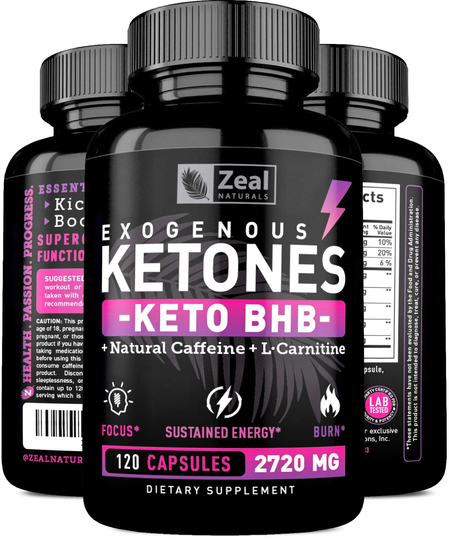Keto BHB Exogenous Ketones Pills (2720mg | 120 Capsules) Keto Pills w. goBHB Salts, Natural Caffeine & L-Carnitine - Keto BHB Oil Capsules Beta Hydroxybutyrate for Weight Loss Keto Vitamins Keto Salts by Zeal Naturals (Image #1)