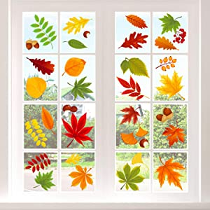 Adoreu Fall Leaves Window Clings Autumn Thanksgiving Acorns Window Sticker Harvest Maple Decorations Autumn Decals Party Decor Ornaments (8 Sheets)