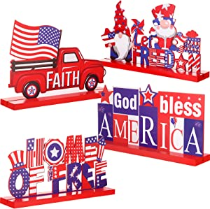 4 Pieces Patriotic Table Decoration 4th of July Wooden Table Centerpiece Independence Day Wood Letter Sign Home of Free God Bless America Table Decoration for Patriotic Party Memorial Day Home Decor