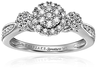 f04f64040 Keepsake Signature 14k White Gold Diamond Contemporary Engagement Ring (1/3cttw,  H-I Color, I1 Clarity)