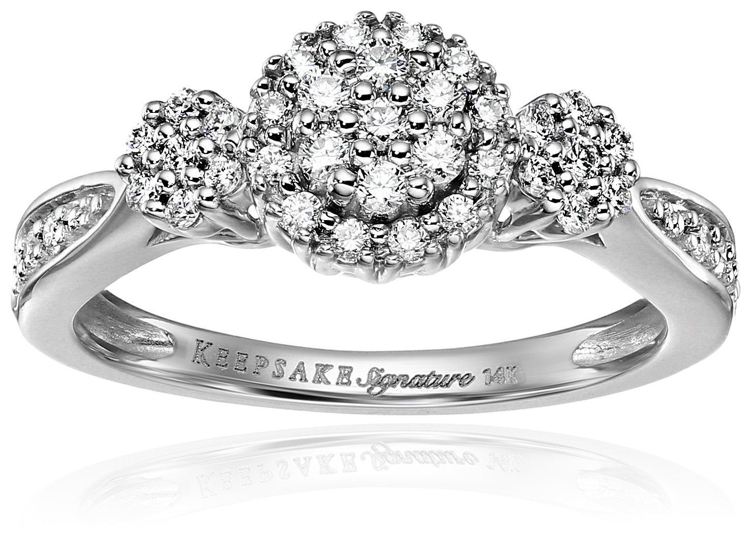Keepsake Signature 14k White Gold Diamond Contemporary Engagement Ring (1/3cttw, H-I Color, I1 Clarity), Size 7