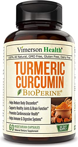 Turmeric Curcumin with BioPerine. Inflammatory Response Support, Antioxidant Properties Supplement with 10 milligrams of Black Pepper for Absorption. Occasional Joint Pain Relief. 60 Capsules