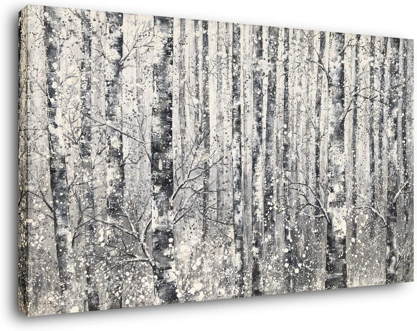 Yihui Arts - One Panel Canvas Wall Art Snowy White Forest Picture Art Print Winter Nature Landscape Painting Contemporary Artwork for Bedroom Living Room Office Wall Decor Framed Easy Hanging