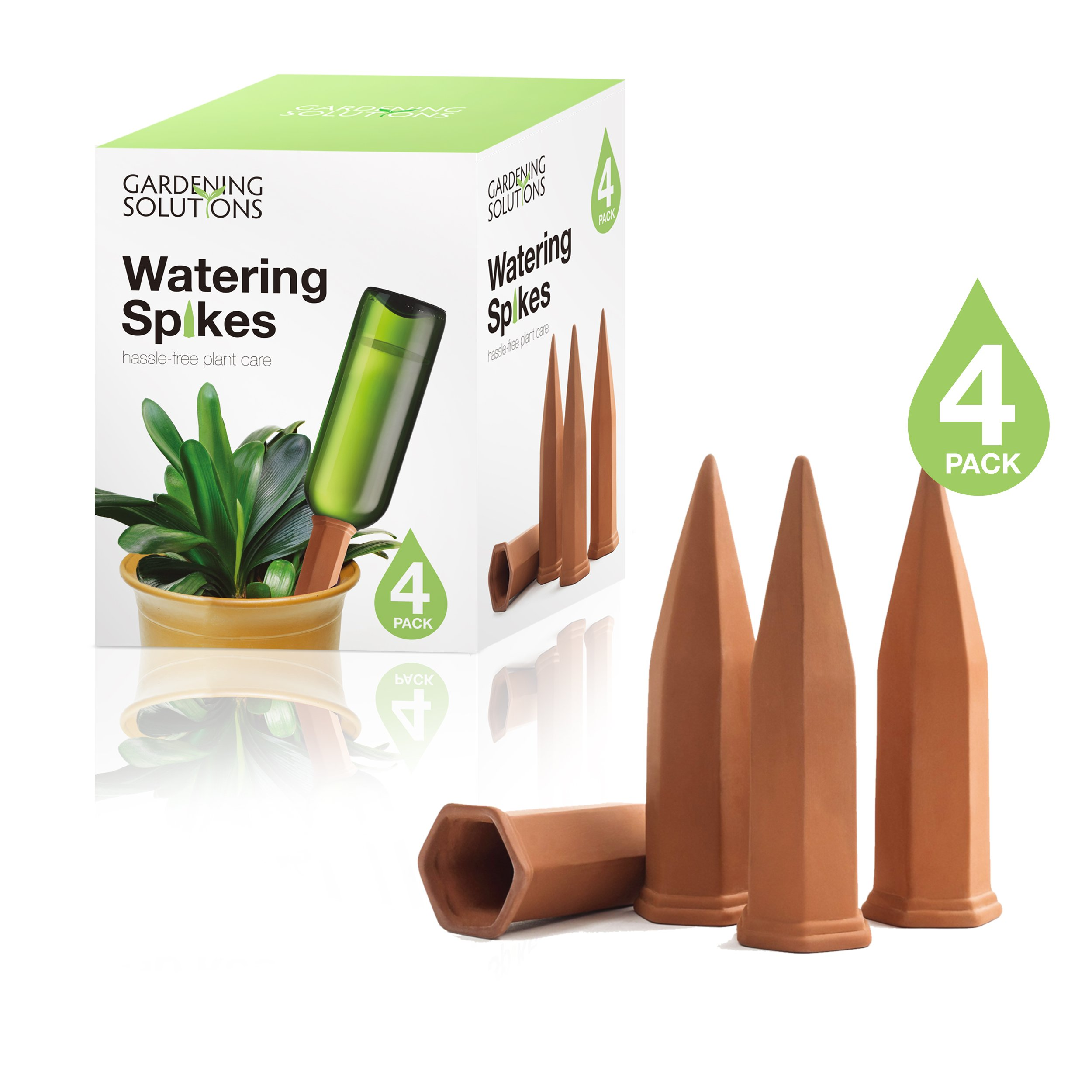 Terracotta Watering Spikes by Gardening Solutions - Water Plants with Automatic Bottle Irrigation System - Set of 4 Stakes by Gardening Solutions