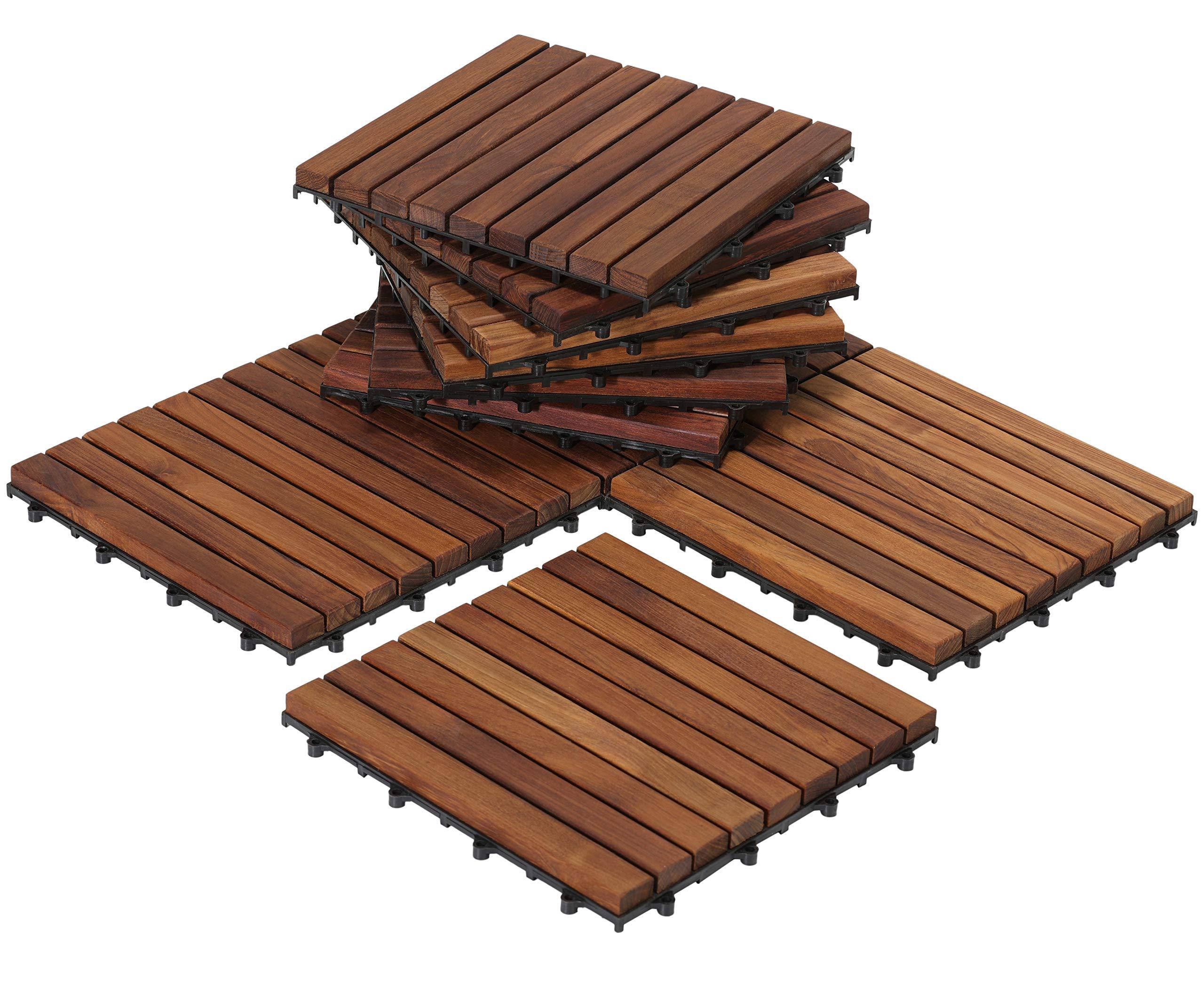 Bare Decor EZ-Floor Interlocking Flooring Tiles in Solid Teak Wood Oiled Finish (Set of 10), Long 9 Slat by Bare Decor